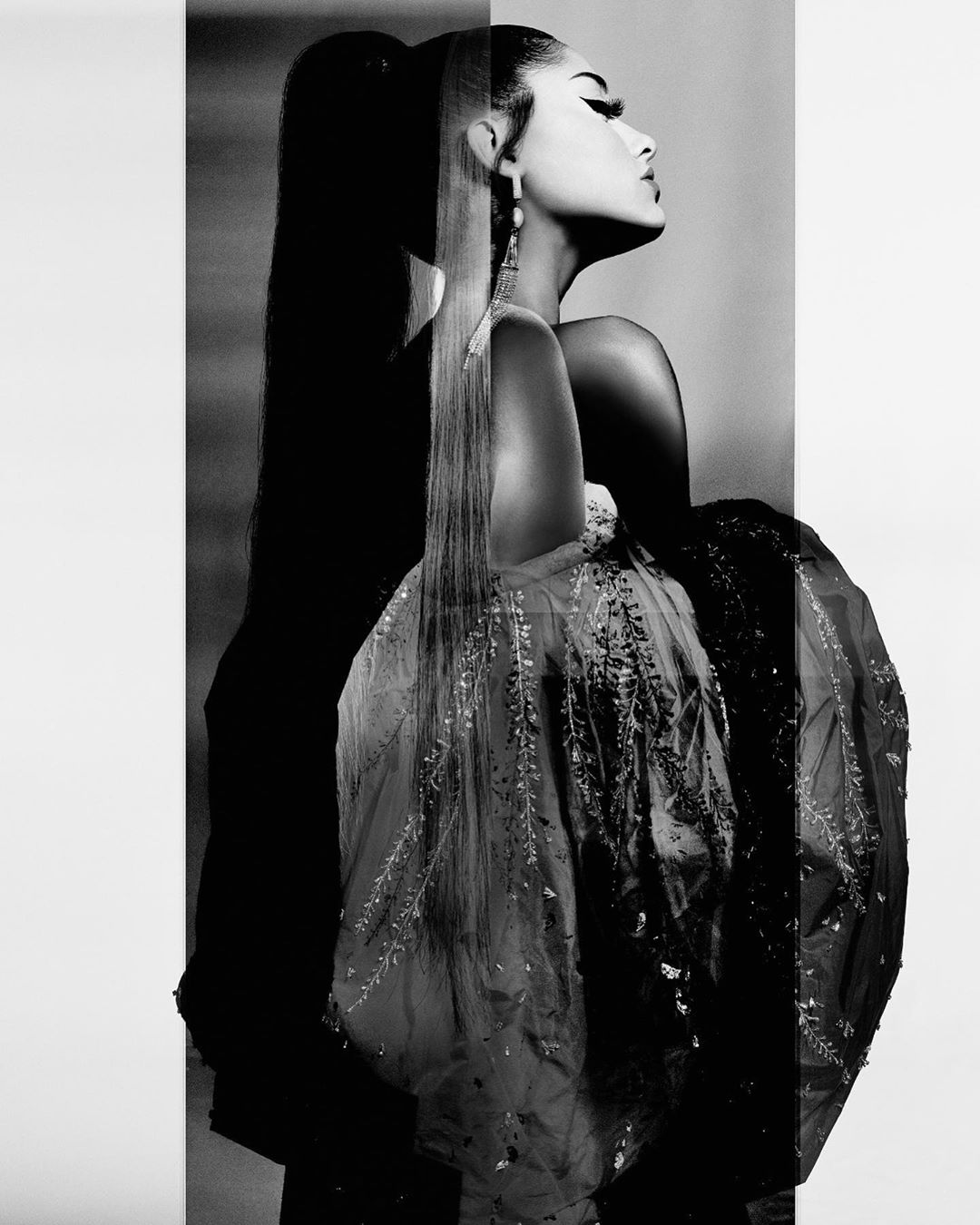 Givenchy AW19 Ariana Grande ad campaign - black and white fashion editorial