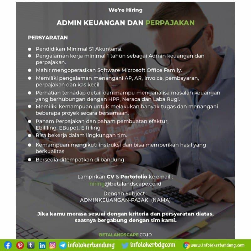 Lowongan Kerja Admin Keuangan Dan Perpajakan PT. Delta Landscapce Bandung Agustus 2021
