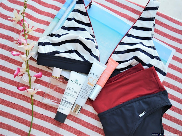 All of us have some favorites every season: things that we keep using and can't stop loving! Discover my essentials for this summer. #beautyessentials #summerbeauty #summerskincare #fashionbikinis #summerswimsuits #bananamoon #liviamontecarlo #allbeauty #payotcccream #clarins #nuxeantidarkspot #burberryherparfum #productreview
