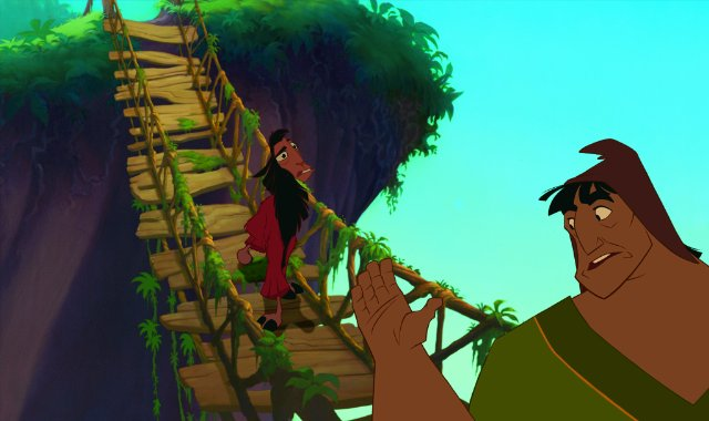 Pacha Kuzco rickety bridge The Emperor's New Groove 2000 animatedfilmreviews.filminspector.com
