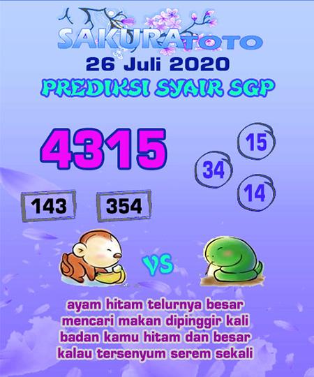 Syair Sakuratoto SGP Minggu 26 Juli 2020