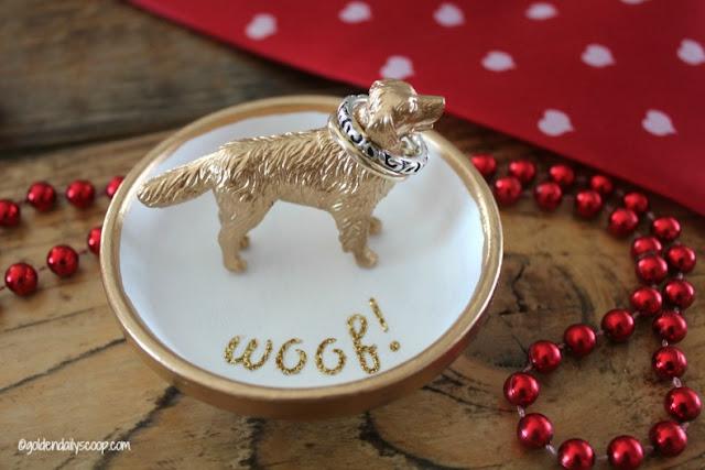 golden retriever dog ring holder Valentine gift