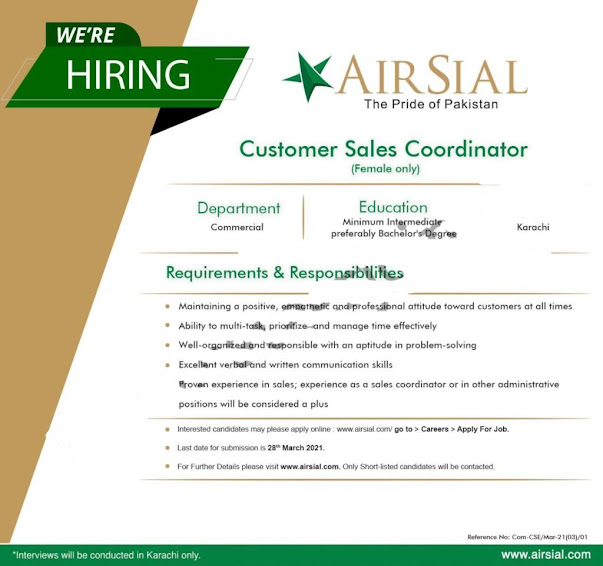 Airline jobs 2021, Latest AirSial Jobs