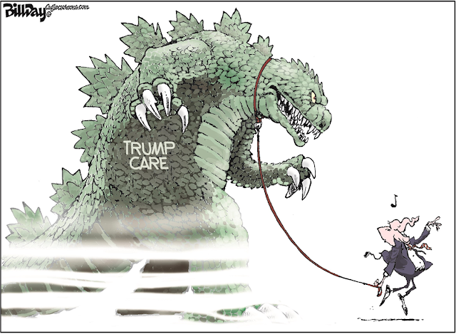 Republican Elephant gamboling gaily down the lane with a hideous monster labeled