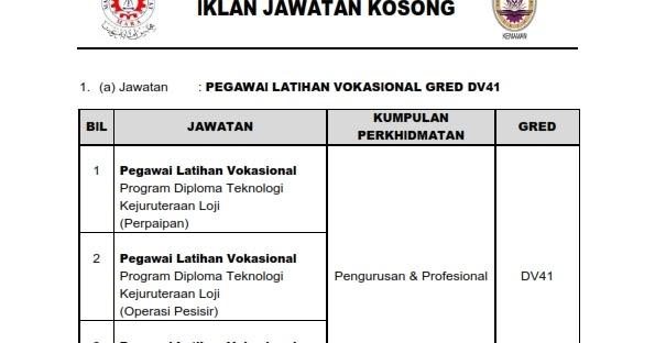 Jawatan Kosong Pegawai Latihan Vokasional Dv41 Mara Pengajar