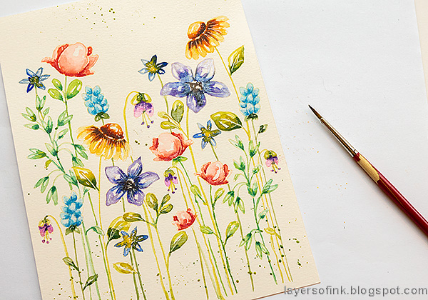 Layers of ink - Watercolor Floral Garden no-line coloring tutorial by Anna-Karin Evaldsson. Add splatters.