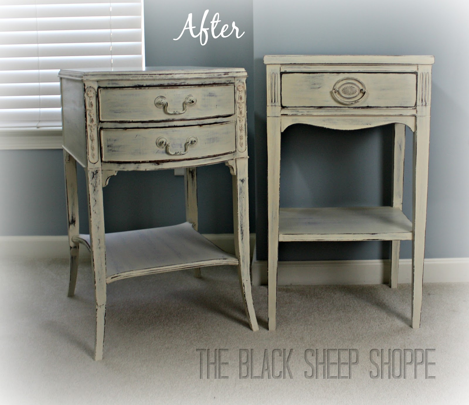 Nightstands painted in Old White with shabby chic finish