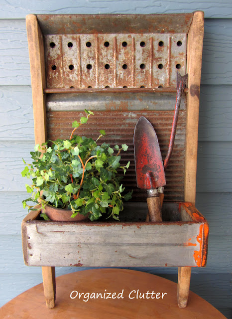 Repurposed Washboard Wall Planter www.organizedclutter.net