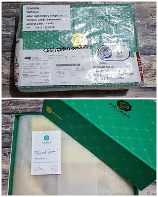 Bingkisan oleh-oleh dari Medan didalam box eksklusif Omiyago beserta Thankyou Cardnya.