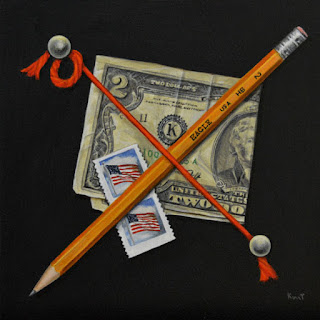 Acrylic Trompe L'Oeil painting of money , pencil and stamps