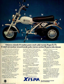 propaganda moto Xispa - 4R  - 1973, moto anos 70, moto xispa década de 70, Oswaldo Hernandez,