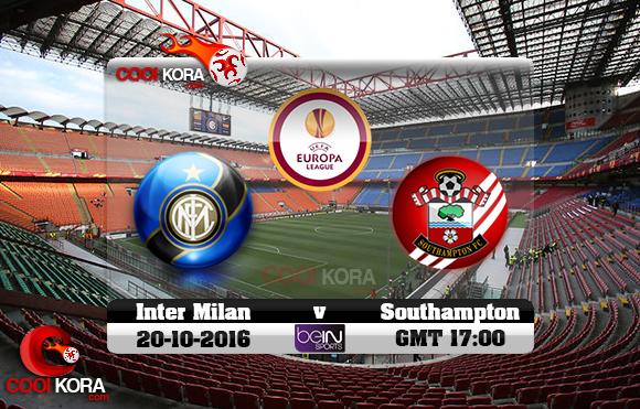 مشاهدة مباراة إنتر ميلان وساثهامبتون اليوم 20-10-2016 في الدوري الأوروبي