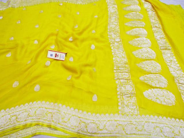 Cheapest price chiffon saree silver zari