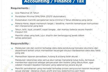 Lowongan Kerja Staff Accounting/ Finance/ Tax