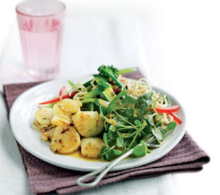 scallops with noodle stir-fry and watercress recipe