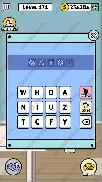 The answer for Escape Room: Mystery Word Level 171 is: WATCH