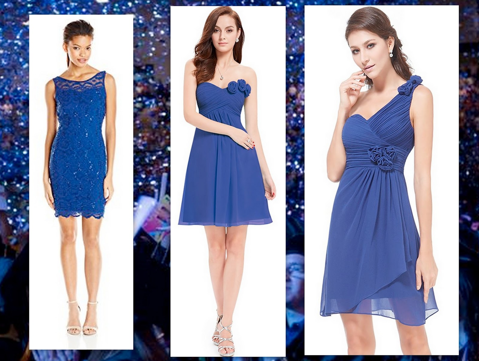 Accesorios para vestidos azules cortos