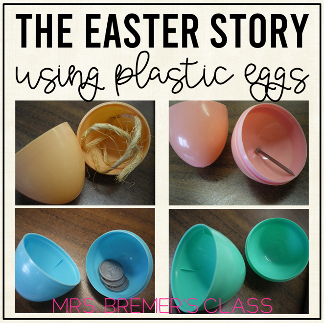 Telling the Christian Easter story using plastic Easter eggs filled with surprises that tell parts of the story. #kindergarten #1stgrade #easter #bible