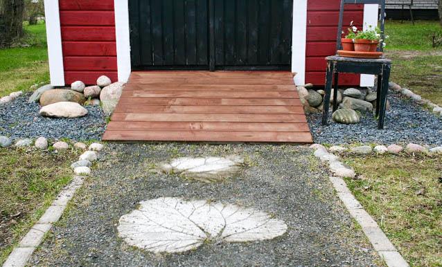 sorakäytävä betoni raparperilehdet koristeet piha