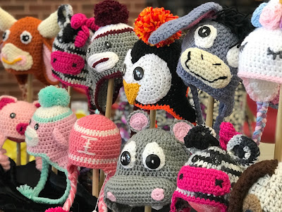 Neu Things Crocheted Hat Display at Coppell Holiday House photography by DFW Craft Shows