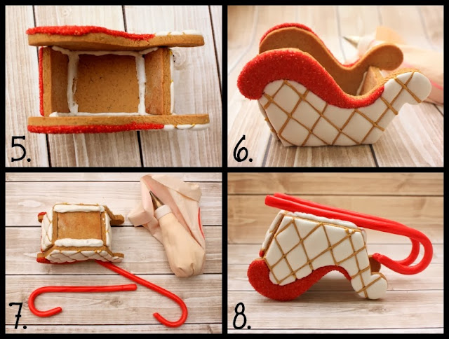how to make decorated sugar cookie 3D gingerbread sleigh