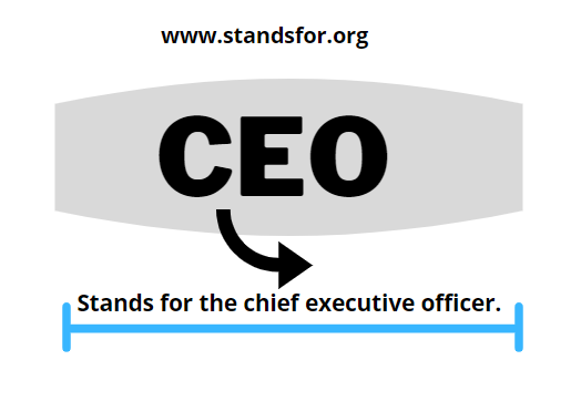 CEO-Stands for the chief executive officer.