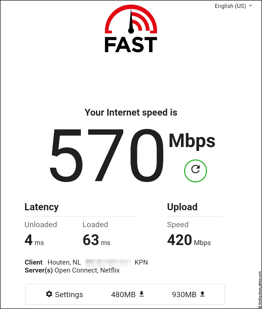 Wi-Fi speed, next to the satellite — fast.com.