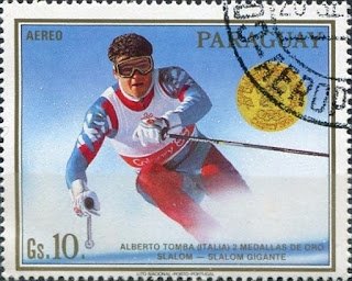 Tomba's double Olympic gold at the 1988 Winter Games was commemorated on a postage stamp in Paraguay