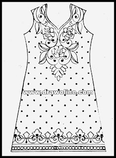 Latest embroidery dress design patterns pencil sketch on paper/kurti embroidery designs patterns sketch