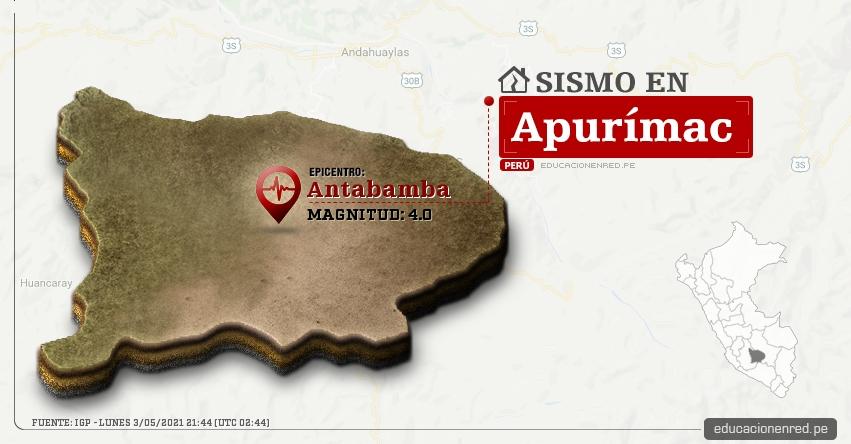 Temblor en Apurímac de Magnitud 4.0 (Hoy Lunes 3 Mayo 2021) Sismo - Epicentro - Antabamba - IGP - www.igp.gob.pe