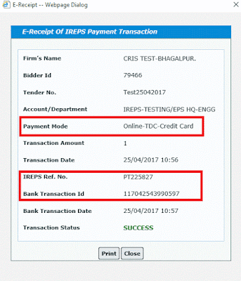 Works Tender TDC Payment Using Credit Card 11