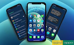 Tema iOS Blue Untuk Oppo Dan Realme Tembus Akar Premium Gratis