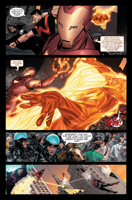 Ironman beating Human Torch and Policemen rescuing civilians.