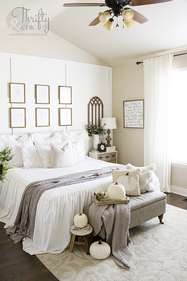 Neutral fall bedroom decor and decorating ideas. Farmhouse bedroom ideas. Board and batten bedroom. Vaulted ceilings in bedroom. Best white bedding