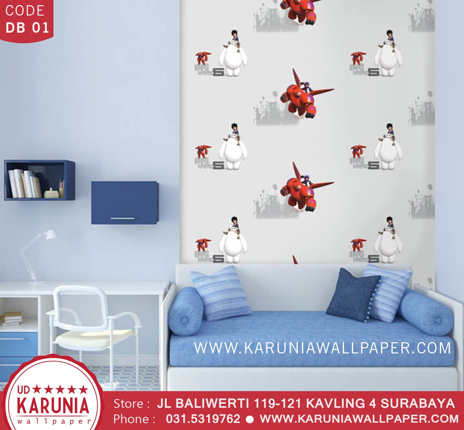 jual wallpaper dinding big hero 6 baymax disney surabaya karuniawallpaper