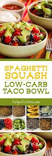 Spaghetti Squash Low-Carb Taco Bowl found on KalynsKitchen.com