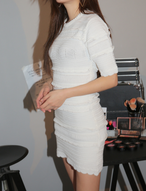 Eyelet Accent Knit Dress