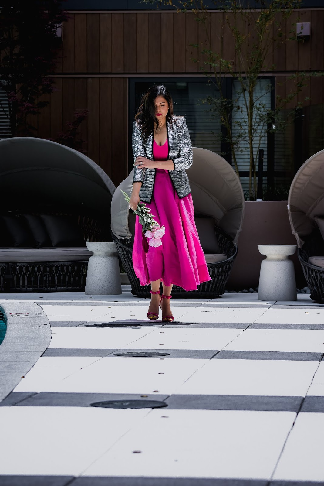 pink on pink outfit, metallic silver jacket, statement party jacket, wedding outfit, wedding guest, portrait photography, dc blogger, street style Hm ponk skirt, myriad musings, saumya shiohare