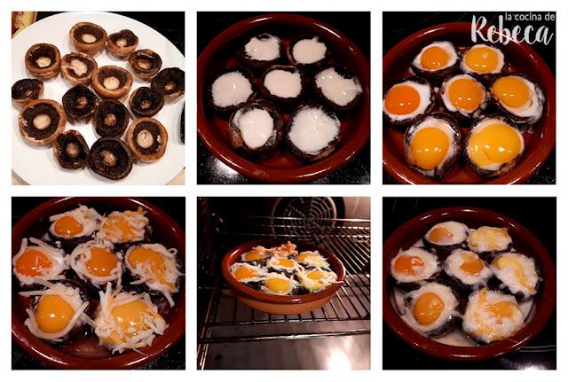 Receta de champiñones rellenos de queso y huevo de codorniz: relleno y gratinado