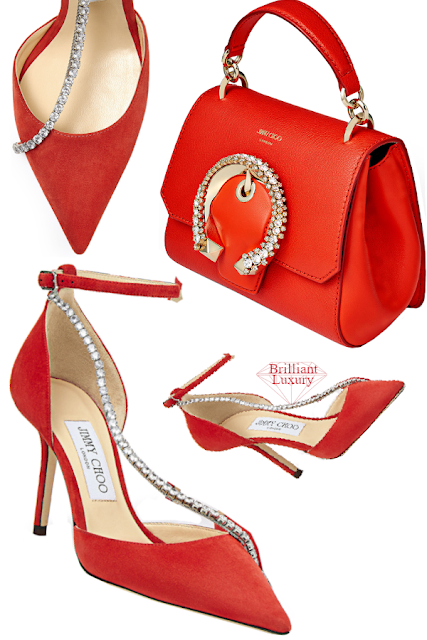 Jimmy Choo Talika Mandarin-Red Suede Sandals with Crystal Chain & Madeline Mandarin Red Goat and Calf Leather Top Handle Bag with Crystal Buckle #brilliantluxury