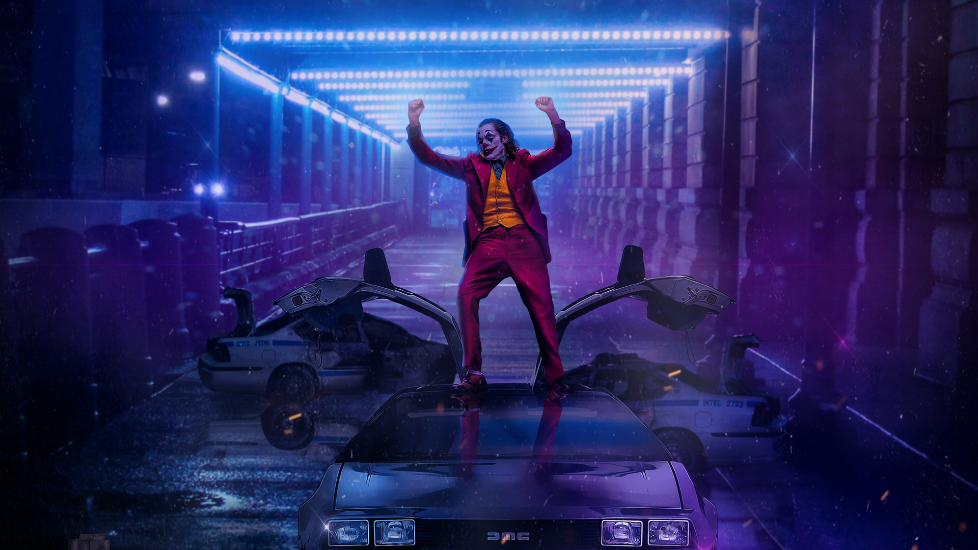 Joker Dancing On DMC DeLorean HD Wallpaper