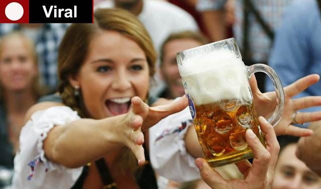 mujer, cerveza, extraño