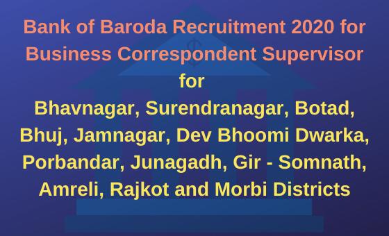 Bank of Baroda Recruitment 2020 for Business Correspondent Supervisor