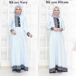 Koleksi Gamis Muslimah Rauna Terbaru RK 200, RK 201