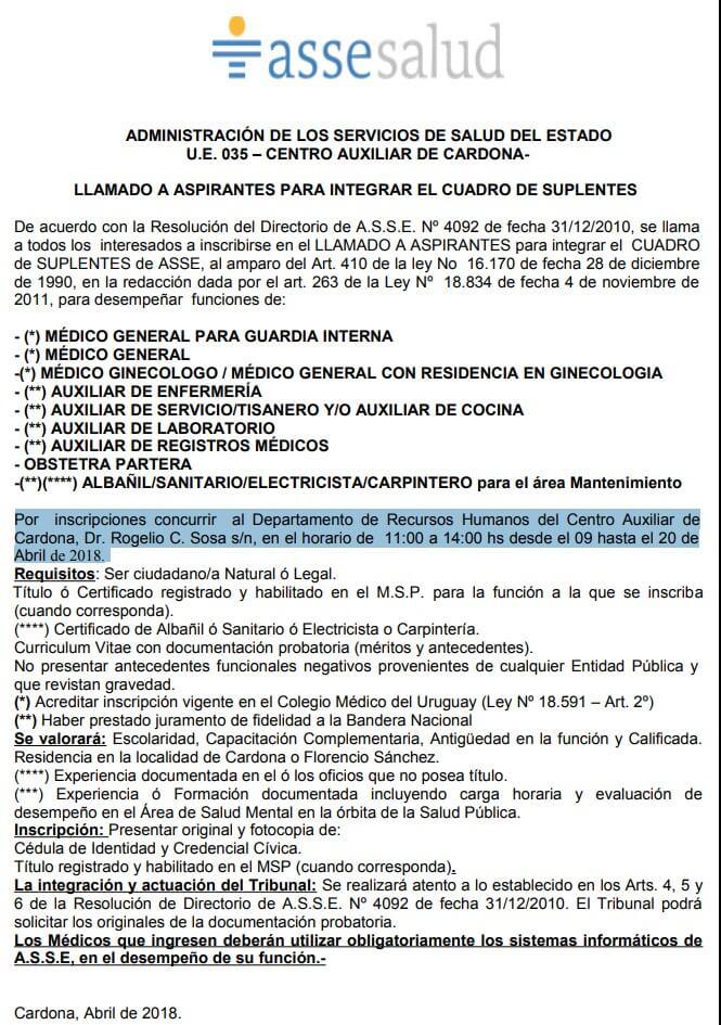 Auxiliares Enfermería Laboratorio Registros Médicos Albañiles Sanitarios  2018