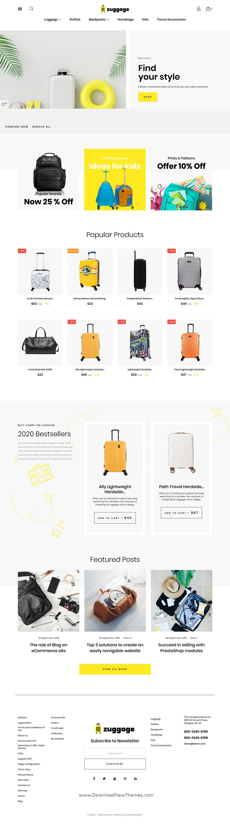Travel Bags Store Website Theme
