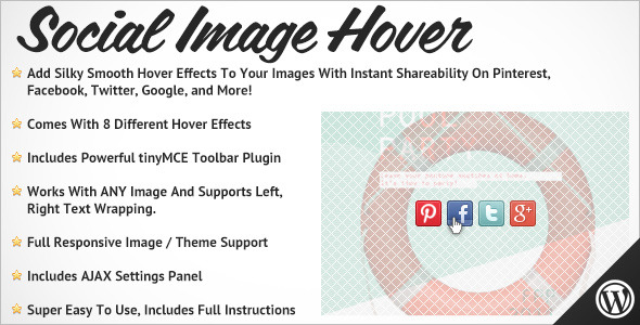 Social Plugins for wordpress- Mouseover and hover image