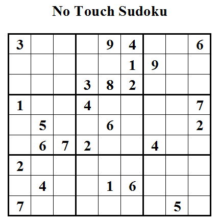 No Touch Sudoku or Untouch Sudoku (Daily Sudoku League #27)