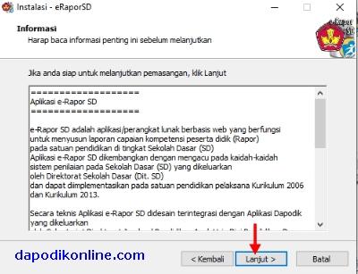 Klik Lanjut pada lembar informasi pemasangan e-rapor SD versi 1.1
