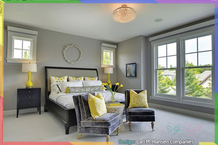 ارضية رمادية داخل غرفة نوم صفراء